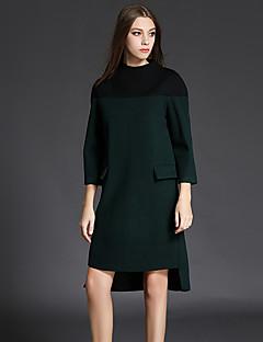 סתיו כותנה / פוליאסטר ירוק שרוול ארוך א-סימטרי עומד טלאים חמוד / סגנון רחוב יום יומי\קז'ואל שמלה טוניקה נשים,גיזרה בינונית (אמצע)