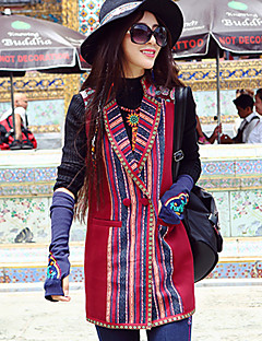 Our Story Women's Casual/Daily Boho CoatEmbroidered Shirt Collar Sleeveless Winter Red Polyester