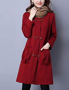 אחיד / פסים צווארון עגול וינטאג' / פשוטה / סגנון רחוב ליציאה / יום יומי\קז'ואל מעיל נשים,אדום / שחור שרוול ארוך אביב / חורף עבהכותנה /