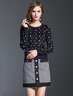 Dames Eenvoudig / Boho / Street chic Herfst / Winter T-shirt Rok Suits,Casual/Dagelijks / Uitgaan Print Ronde hals Lange mouw BlauwKatoen