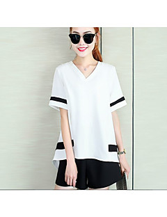 Women's Casual/Daily Street chic Summer Blouse Pant Suits,Solid V Neck Short Sleeve Red / White / Black Polyester Thin