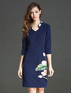Damen Hülle Kleid-Lässig/Alltäglich Chinoiserie Stickerei V-Ausschnitt Übers Knie ¾-Arm Blau Polyester Herbst / Winter Hohe Hüfthöhe