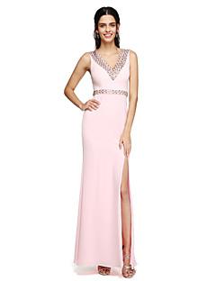 2017 Lanting bride® podlahy Délka šifónové družička šaty furcal - výstřih s korálky