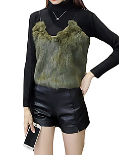 Women's Going out Casual/Daily Cute Short Vest,Solid Green Strap Sleeveless Rabbit Fur Fall Winter Thick Micro-elastic