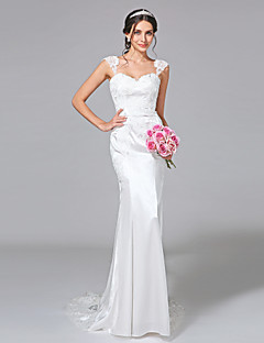 LAN TING BRIDE Trumpet / Mermaid Wedding Dress - Chic & Modern See-Through Court Train Straps Stretch Satin with Appliques Button