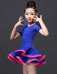 Latin Dance Dresses Children's Performance Rayon / Lace Lace 2 Pieces Short Sleeve Natural Dress / Shorts