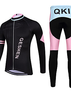 QKI GESHEN Cycling Jersey with Tights Unisex Long Sleeve Bike Breathable / Quick Dry / Anatomic Design / Front Zipper / 3D Pad / Sweat-wicking