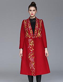 Casual/hétköznapi Kínai Őszi / Téli-Női Kabát,Hímzett V-alakú Hosszú ujj Piros / Fekete Műselyem