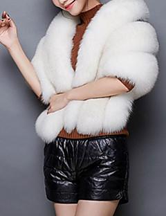 Feminino Capa / Capes Casual Simples Inverno,Sólido Rosa / Branco / Cinza Pêlo Sintético Gola Boba-Sem Manga Grossa