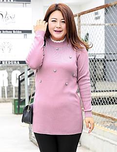 Normal Pullover Fritid/hverdag / Plusstørrelser Enkel Dame,Ensfarget Rosa / Grå Rund hals Langermet Polyester / Nylon Høst / Vinter Medium