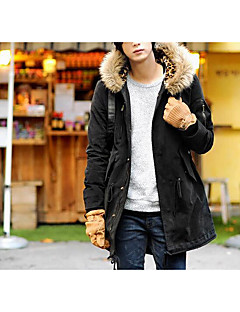 Men's Regular Padded Coat,Simple Casual/Daily Solid-Cotton Polyester Long Sleeve