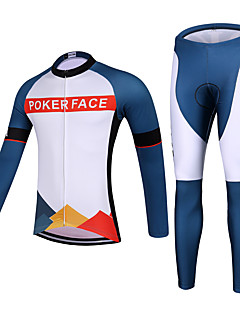 QKI POKER FACE Cycling Jersey with Tights Unisex Long Sleeve Bike Breathable / Quick Dry / Anatomic Design / Front Zipper / 3D Pad / Sweat-wicking