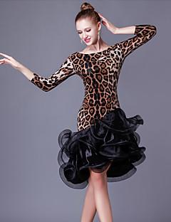 Latin Dansı Elbiseler Kadın's Performans Kristal Pamuk Organza Fırfırlı Ayrık Renkler 1 Parça 3/4 Kol Uzunluğu Yüksek Elbise