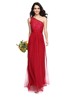 2017 Lanting Bride® Floor-length Lace / Tulle Elegant Bridesmaid Dress - One Shoulder with Ruching