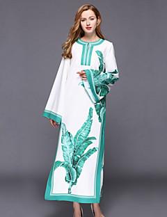 Damen Lose Kleid-Lässig/Alltäglich Chinoiserie Druck Rundhalsausschnitt Maxi Langarm Weiß Baumwolle / Polyester Frühling Hohe Hüfthöhe
