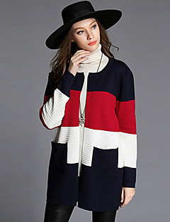 Women's Casual/Daily Plus Size Simple Regular Cardigan,Color Block Red Round Neck Long Sleeve Cotton Polyester Fall Winter Medium