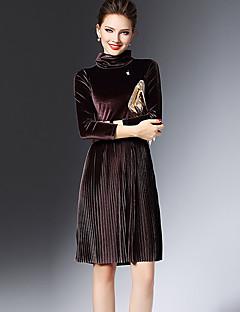 Women's Casual/Daily Sexy Sheath Dress,Solid Turtleneck Knee-length ¾ Sleeve Green / Purple Polyester Winter Mid Rise Micro-elastic Medium