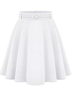 Damen Röcke,A-Linie einfarbigLässig/Alltäglich Hohe Hüfthöhe Über dem Knie Elastizität Polyester Micro-elastisch All Seasons