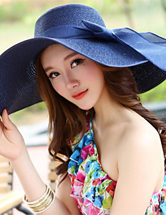 Women Vintage Casual Summer Beach Bow Tie Solid Color Sun Dome Wide-brimmed Hat
