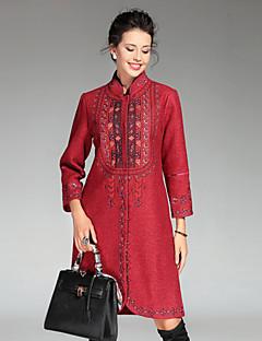 Dame Palton Casul/Zilnic / Plus Size Sofisticat,Brodată Manșon Lung Iarnă Stand-Albastru / Roșu / Bej Poliester