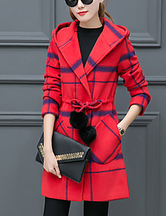 Women's Going out Simple Trench Coat,Plaid Hooded Long Sleeve Fall / Winter Blue / Red / Gray Polyester Thick