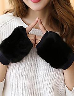 женщины мех кролика длина половины пальца запястье, твердый случайный зима