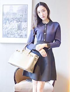 Kadın Günlük/Sade Sade A Şekilli Elbise Zıt Renkli,Uzun Kollu Gömlek Yaka Diz üstü Mor Yünlü / Pamuklu Sonbahar Normal Bel Streç Orta