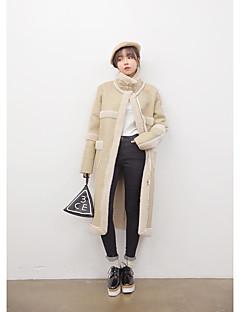 אחיד חמוד / סגנון סיני חוף / חג מעיל נשים,שחור שרוול ארוך פוליאוריתן / כותנה