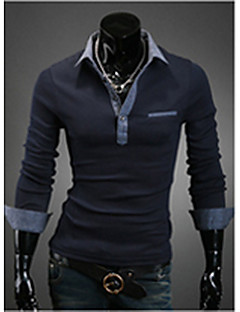 Men's Going out / Casual/Daily Simple Spring / Fall Polo,Solid Shirt Collar Long Sleeve Blue / White Cotton Medium