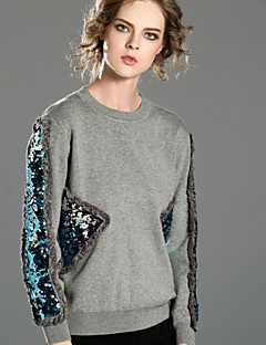 Damen Pullover Lässig/Alltäglich Street Schick Solide Rundhalsausschnitt Dehnbar Kunstseide Acryl Langarm Winter