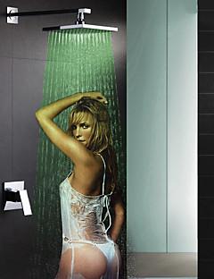 現代風 壁式 LED / 滝状吐水タイプ / レインシャワー with  セラミックバルブ シングルハンドルつの穴 for  クロム , シャワー水栓 / 浴槽用水栓