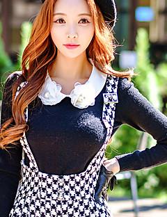 Damen Standard Pullover-Ausgehen Lässig/Alltäglich Arbeit Niedlich Street Schick Anspruchsvoll Solide Einfarbig Schwarz Peter Pan-Kragen
