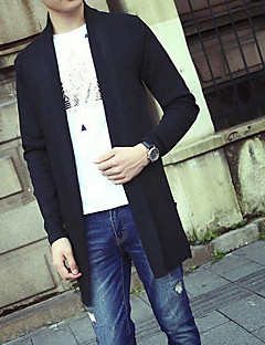 Herre Simpel Casual/hverdag Normal Cardigan Ensfarvet,Sort / Grå Krave Langærmet Akryl Efterår Medium Mikroelastisk