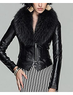 Women's Casual/Daily Simple Leather Jackets,Solid Long Sleeve Black / Brown Faux Fur