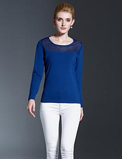 T-shirt Da donna Casual Semplice Autunno / Inverno,Tinta unita Rotonda Cotone Blu Manica lunga Opaco