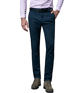 Men's Plus Size Straight / Slim Chinos / Business Pants,Casual/Daily / Work Vintage / Simple / Street chic Solid Low Rise Zipper / Button