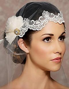 הינומות חתונה שכבה אחת כיסויי ראש עם הינומה חיתוך קצה אורגנזה