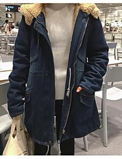 אחיד עם קפוצ'ון פשוטה יום יומי\קז'ואל ז'קטים מג'ינס נשים,כחול שרוול ארוך סתיו חורף בינוני (מדיום) אחרים