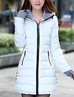 Women's Short Down Coat,Cute Casual/Daily Solid-Polyester White Duck Down Long Sleeve Round Neck Pink / Red / Black / Green / Yellow