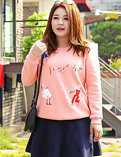 Women's Plus Size Casual/Daily Simple Sweatshirt Print Round Neck Inelastic Cotton Polyester Long Sleeve Fall Winter