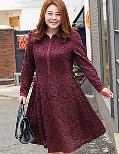 Damen Tunika Kleid-Ausgehen / Formal / Übergröße Niedlich / Anspruchsvoll Solide V-Ausschnitt Midi Langarm Rot / SchwarzBaumwolle /