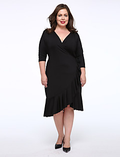 Women's Plus Size / Casual/Daily Simple Little Black Dress,Solid V Neck Knee-length 3/4 Length Sleeve Blue / Red / Black / Purple Others