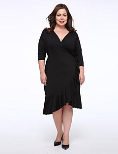 Feminino Pequeno preto Vestido,Casual / Tamanhos Grandes Simples Sólido Decote V Altura dos Joelhos Azul / Vermelho / Preto / Roxo Outros