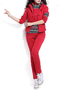 Damen Druck Einfach Sport Set Hose Anzüge,Mit Kapuze Winter Langarm Blau / Rosa / Rot / Schwarz / Grau Polyester Dick