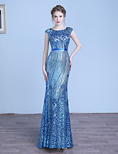 Formal Evening Dress - Sparkle & Shine Sheath / Column Jewel Floor-length Tulle Sequined with Sequins