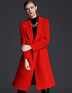 Casual/hétköznapi Egyszerű Őszi / Téli-Női Kabát,Egyszínű Állógallér Hosszú ujj Rózsaszín / Barna Gyapjú Közepes vastagságú