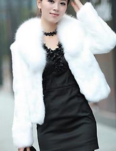 Langærmet Dame Hvid / Sort Ensfarvet Simpel Casual/hverdag Pelsfrakke,Imiteret pels