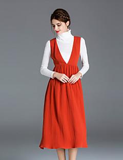 Uden ærmer Dyb V Dame Orange Ensfarvet Efterår Simpel Casual/hverdag T-shirt Skjørte Suits,Polyester