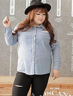 Feminino Camisa Casual / Tamanhos Grandes estilo antigo Inverno,Listrado Azul Algodão Colarinho de Camisa Manga Longa Média
