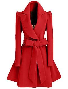 Manteau Femme,Couleur Pleine Sortie / Décontracté / Quotidien simple Manches Longues Col en V Rouge / Noir Polyester Moyen Hiver